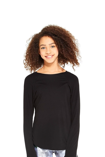 Girls Black Long Sleeve Baseball Top