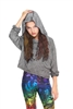 Terez - Girls Grey Long Sleeve Hooded Crop Top