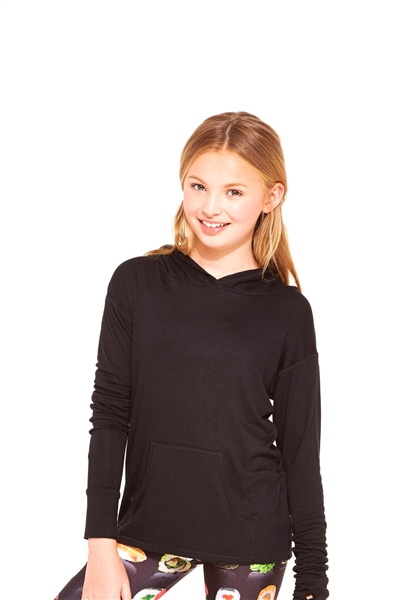 Terez Girls Black Long Sleeve Hooded Top