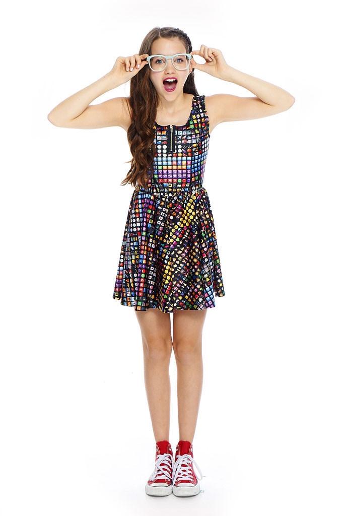 Terez Girls Emoji Zip Skater Dress