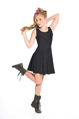 Terez Girls Croc Noir Skater Dress