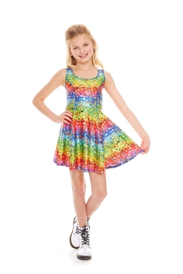 Terez Girls Emoji Rainbow Skater Dress