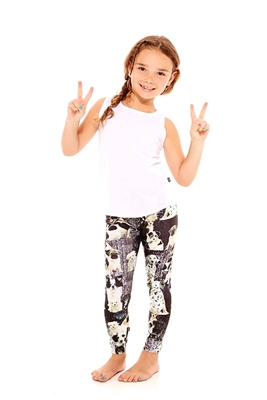 Terez Kids Black and White Puppies Leggings