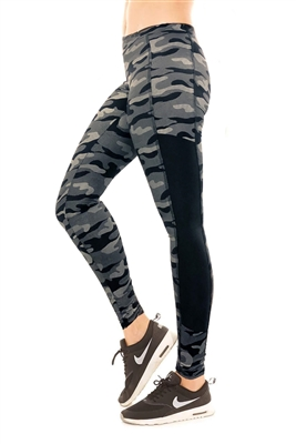 Metallic Charcoal Camouflage Black Panel Leggings