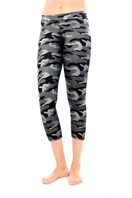 Metallic Charcoal Camouflage Capri Leggings