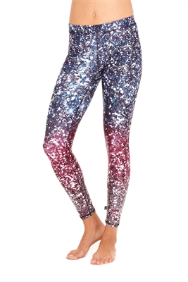 Terez - Womens Glitterally Ombre Purple Leggings