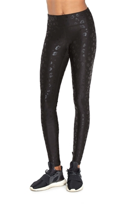 Terez Black Cheetah Foil Tall Band Leggings