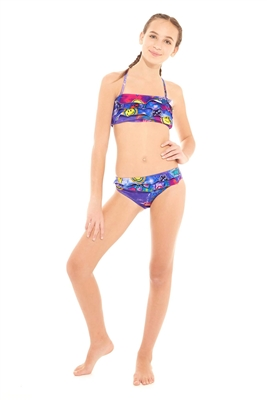 Terez Girls Tie Dye Patches Ruffle Bikini
