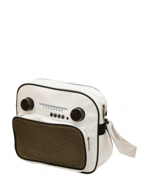 White Vintage Radio Messenger Bag
