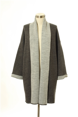 Truehitt - Gray Color Block Thick Coat Cardigan