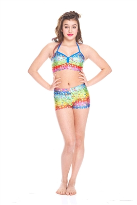 Terez Girls Emoji Rainbow Dance Shorts