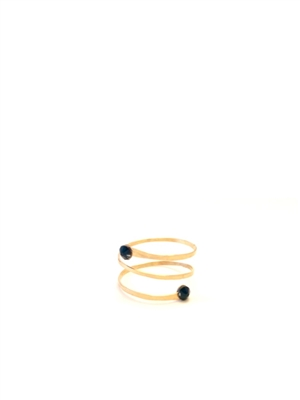 Seasonal Whispers - Wraplet 14K Gold Ring w/Black Swarovski crystals