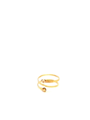 Seasonal Whispers - Wraplet 14K Gold Ring w/Rose Swarovski crystals