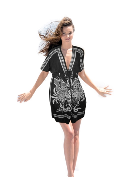 IPANEMA Print Kimono Dress - Black w/White Print