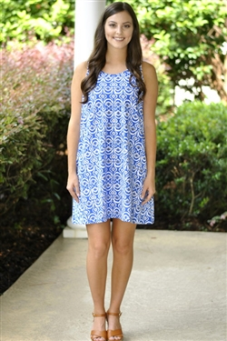 Maggie Tank Dress- Blue/White - Large