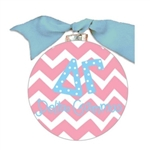 Delta Gamma Chevron Glass Ornament
