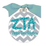 Zeta Tau Alpha Chevron Glass Ornament