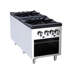 "Commercial Stock Pot Stove, 2 Burner 18"", Gas - ATSP-18-2 by Atosa ."
