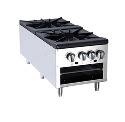 "Commercial Stock Pot Stove, 2 Burner 18"" Short, Gas - ATSP-18-2L by Atosa ."