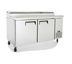 "Refrigerator, Pizza Prep Table 67"" - 2 Section, 9 Pans, MPF8202GR by Atosa."