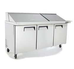"Refrigerator, ""Mega-Top"" Sandwich Prep Table 72"" - 3 Section, 30 Pans, MSF8308GR by Atosa."