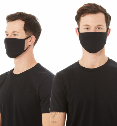 Reusable Face Mask 2 Ply Cloth, 5 Pack, Size M/L Black -TT044-L