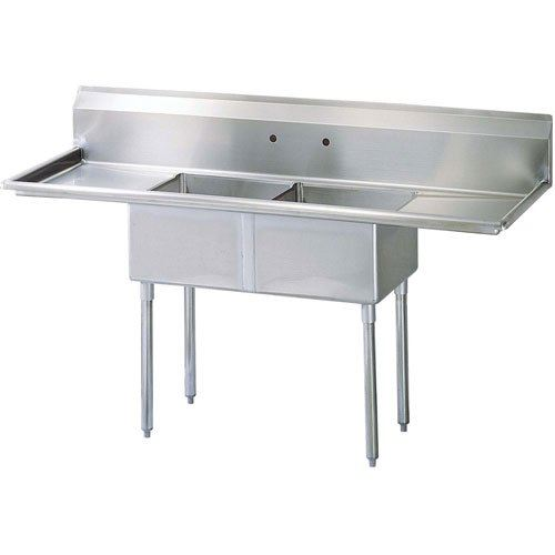 "Sink, Kitchen, 2 Compartments 18"" x 18"", 2 Drainboards 18"", CC2-18 by California Cooking."