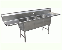 "Sink, Kitchen, 3 Compartments 24"" x 18"", 2 Drainboards 18"", CC3-2418 by California Cooking."