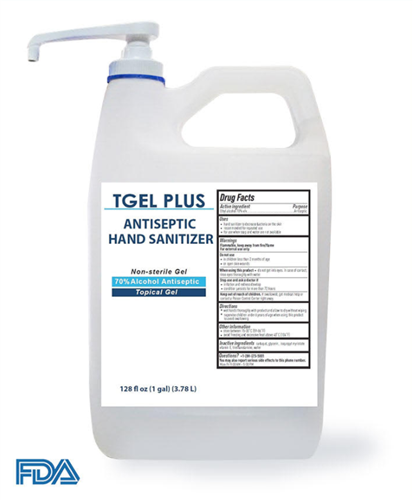 T-Gel Plus Hand Sanitizer Gel, 70% Alcohol, 1 Gallon Bottle - HS-1GAL