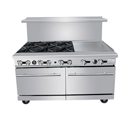 "Commercial 60"" Gas Range, 6 Burners w/24"" Griddle- PR-6B-24G by CCK"