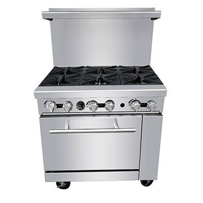 "Commercial 36"" Gas Range, 6 Burners w/Large Oven - PR-6B by CCK"