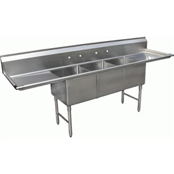 "Sink, 3 Tubs 24"" x 24"" 2 Drainboards 24"" - SHH24243D by California Cooking."
