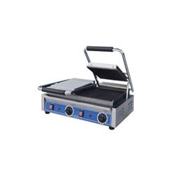 Panini Grill, Small Double Grooved Top And Bottom - 240V, GPGDUE10 by Globe .
