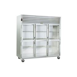 Refrigerator, Reach-In Solid Glass Half Doors - 3 Section, G32000 by Traulsen.