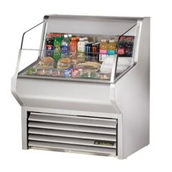 "Refrigerator, Horizontal Air Curtain Merchandiser 36"" - Stainless, THAC-36-S by True."
