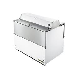 "Refrigerator, 49"" Double Sided Milk Cooler - White Exterior/Stainless Interior TMC-49-DS-SS by True."