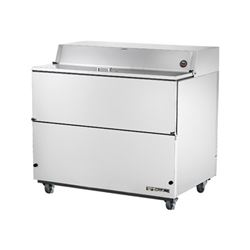 "Refrigerator, 49"" Single Sided Milk Cooler - Stainless Exterior/White Interior, TMC-49-S by True."