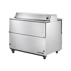 "Refrigerator, 49"" Double Sided Milk Cooler - Stainless Exterior/White Interior TMC-49-S-DS by True."