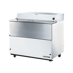 "Refrigerator, 49"" Single Sided Milk Cooler - White Exterior/Stainless Interior, TMC-49-SS by True."