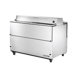 "Refrigerator, 58"" Double Sided Milk Cooler - Stainless Exterior/White Interior, TMC-58-S-DS by True."