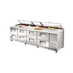 Refrigerators, Pizza Prep Table - 4 Section, 8 Drawers, TPP-119D-8 by True.
