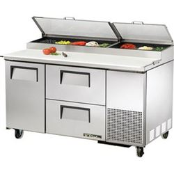 Refrigerators, Pizza Prep Table - 2 Section, 1 Door, 2 Drawers, TPP-60D-2 by True.