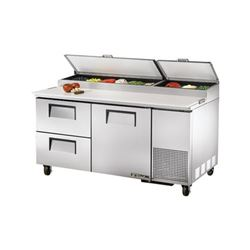 Refrigerators, Pizza Prep Table - 2 Section, 1Door, 2 Drawers, TPP-67D-2 by True.