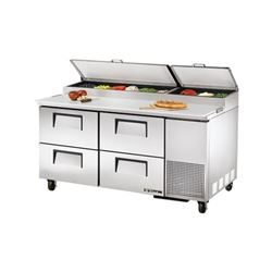Refrigerators, Pizza Prep Table - 2 Section, 4 Drawers, TPP-67D-4 by True.