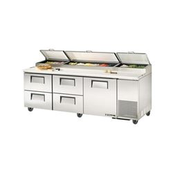 Refrigerators, Refrigerators, Pizza Prep Table - 3 Section, 1 Door, 4 Drawers, TPP-93D-4 by True.