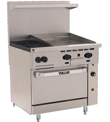 "Range, 36"", 2 Burners, 24"" Griddle, 1 Standard Oven - Nat. Gas, 36S-2B24G-N by Vulcan."