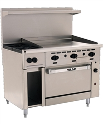 "Range, 48"" 2 Burners, 36"" Griddle, 1 Convection Oven - Nat. Gas, 48C-2B36G-N by Vulcan."