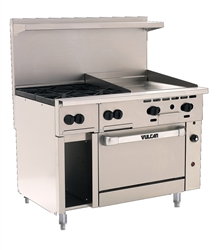"Range, 48"" 4 Burners, 24"" Griddle, 1 Convection Oven - Nat. Gas, 48C-4B24G-N by Vulcan."