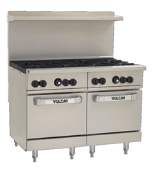 "Range, 48"" 8 Burners, 2 Space Saver Ovens - Nat. Gas, 48SS-8B-N by Vulcan."