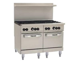 "Range, 48"" 8 Burners, 2 Space Saver Ovens - L.P. Gas, 48SS-8B-P by Vulcan."